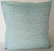 Grey Gardens cushions Aqua - Text
