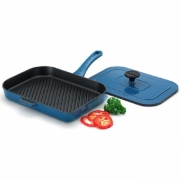 Chasseur Double Grill Panini with Lid - French Blue